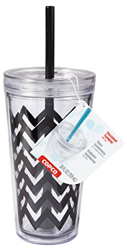 Copco 2510-0437 Minimus Double Wall Insulated Tumbler with Removable Straw, 24-Ounce, Chevron (Black Footed Cup)