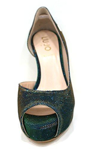 Liu Jo Decollete Donna Scarpe Open Toe Marise Tacco 12 Pl 2,5 Verde / Oro-39