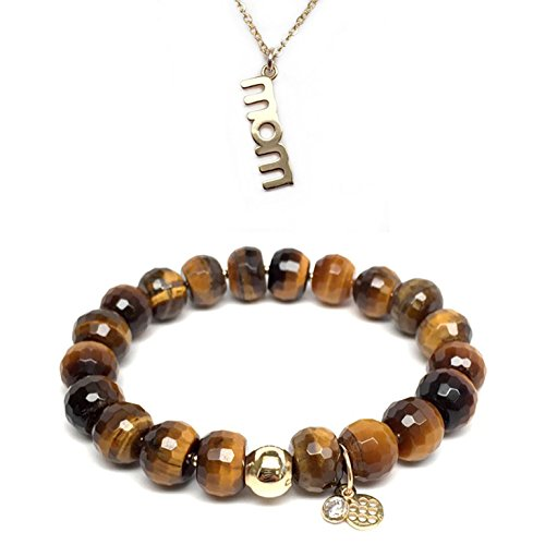 Charm 14k Brown Bracelet (Set 10mm Brown Agate London 7