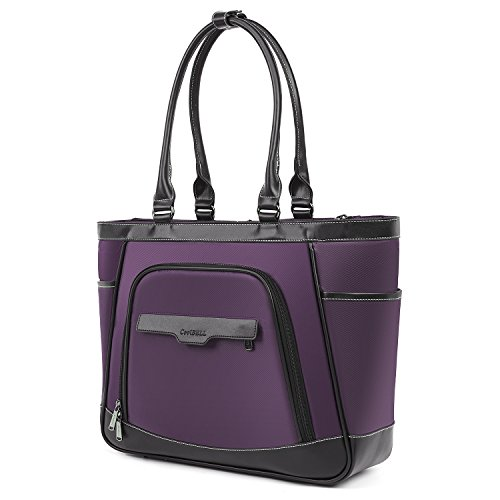 UtoteBag Women 15.6 Inch Large Laptop Tote Shoulder Bag,Water-Resistant Business Office Work Briefcase for Computer Notebook,Purple