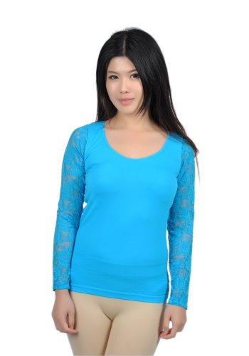 Soho Apparel Junior Sheer Floral Lace back Long Sleeve Top SG-T053-Turquoise