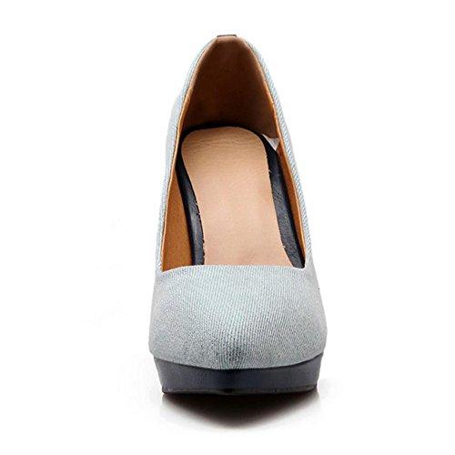 COOLCEPT Mujer Moda Tacon De Aguja Tacon alto Bombas Zapatos Sin Cordones Fiesta Zapatos Light Azul