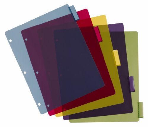 Poly Index Tabs (Cardinal Poly Dividers without Pockets, 5-Tab, Multi-Color (84018))