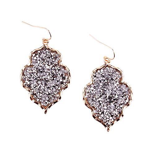 StylesILove Womens Trendy Pave Rhinestone Long Chain Quatrefoil Pendant Necklace Dangle Earrings (Gray - Earrings)