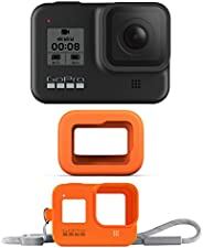GoPro HERO8 Black Bundle - Cámara HERO8 Black + Floaty + Funda Sleeve Lanyard Hyper Orange
