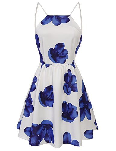ACEVOG Women Sexy Backless Skater Dress Spaghetti Strap Sundress With Lining, Large, Blue