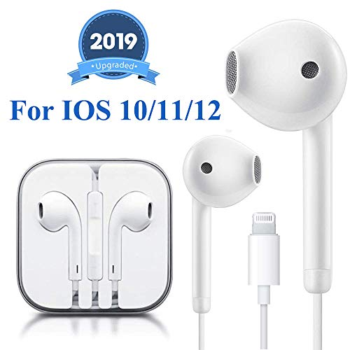 Lighting Earbuds Headphone Earphones Wired Headset with Microphone and Volume Control, Compatible with iPhone Xs Max/XR/X/8/7 Plus Plug and Play iOS 10/11/12