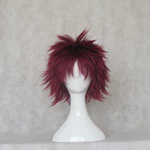 Naruto Gaara Short Straight Wine Red Anime Party Cosplay Full Hair Wig
