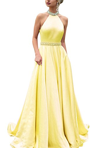 Women's A-Line Long Halter Satin Evening Prom Dress Formal Gown with Beaded Belt Yellow Size 8