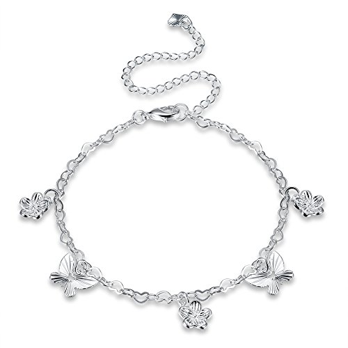Beach Butterfly Anklets for Women Jewelry Heart in Heart Link Chain with Drop Tassel (Butterfly-7)