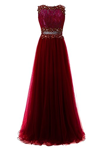 Burgundy Dresses for Women Evening Prom Formal Callmelady Gowns Tulle Appliqued Long xtqat70vw