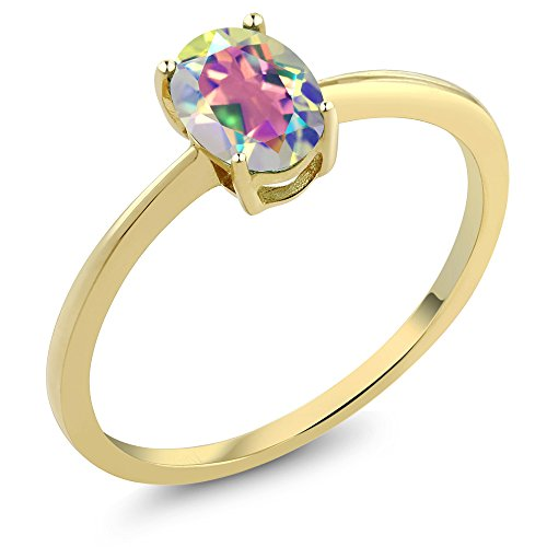 0.80 Ct Oval Mercury Mist Mystic Topaz 10K Yellow Gold Solitaire Engagement Ring (Sizes 5,6,7,8,9)