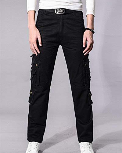 Militari Cargo Nero Da Uomo Skinny Pista Con Pantaloni Sportivi Huixin Tinta Multitasche A Casual Vintage Unita 4x5qwgYfSR