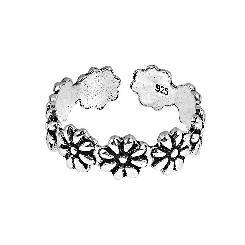 AeraVida Stylish Flowers Wrap .925 Sterling Silver Toe Ring or Pinky Ring ()