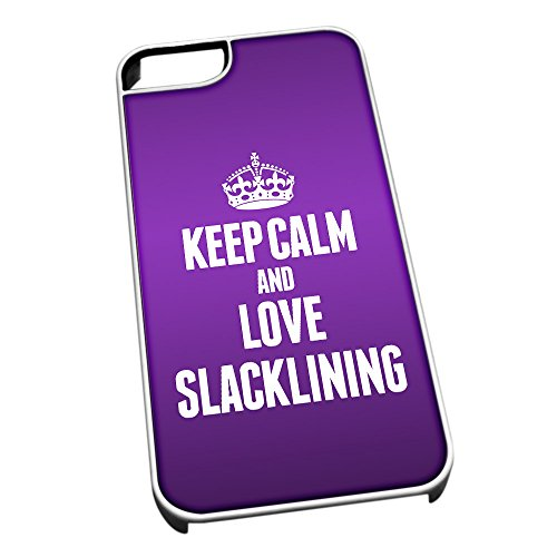 Bianco cover per iPhone 5/5S 1898 viola Keep Calm and Love slacklining