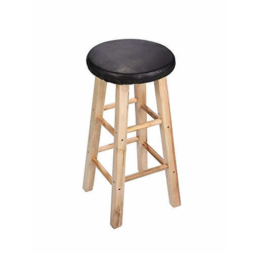 - Lominc Black Vinyl Round Bar Stool Cover,With 2cm Foam, Waterproof & Anti Slip Stool Cushion for Wooden/Metal Stools