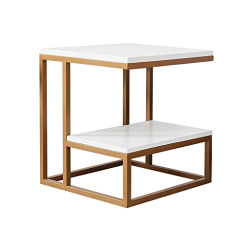 Home Warehouse Gold Sofa Table, Creative Small Decoration Side Table Corner Table Bedroom Bedside Table Living Room Small Square Table Telephone Table Dining Table,454550CM (Tables Iron Square Nesting)
