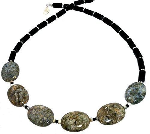 Fossil White Necklace (Volcanic, Earth, black & white color gem bib necklace; Fossil jasper, onyx, opal; Large stone bead statement necklace;)