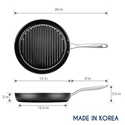 TECHEF - Onyx Collection Grill Pan Coated with New Teflon Platinum Non-Stick Coating PFOA Free, 12\