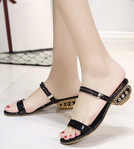 Verano La Zapatillas Cabeza Negro Pescado Áspero De Mujer Elegante Imitación Con Minetom Diamantes Palabra Sandalias Zapatos zawxP