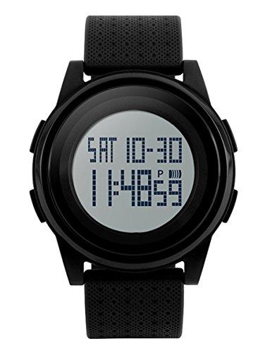 black digital sports watch