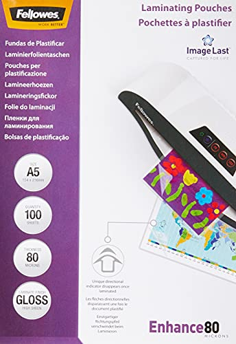 Fellowes 53600 - Pack de 100 fundas de plastificar, brillo, formato A5, 80 micras
