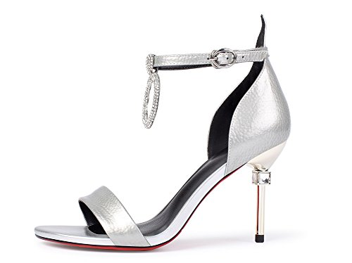 Unique Sandals Buckle Womens MJS02746 Heeled Platform Pleather Rhinestones 1TO9 Silver qxEp0c4