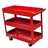 Bonebit Rolling 3 Tray Utility Cart Dolly 220lbs Storage Shelves Workshop Garage Tool