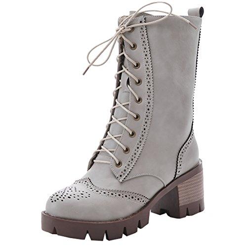 AIYOUMEI Damen Chunky Heel Martin Stiefel mit Schnürung Modern Blockabsatz Stiefeletten Schuhe Grau