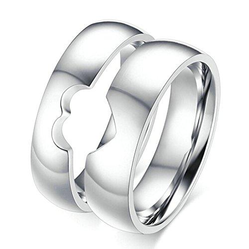 Aooaz 2 Friendship Women Men Stainless Steel Puzzle Rings Heart Rings Silver 5MM / 6MM Women 7 & Men 10