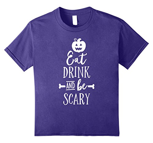 Kids Halloween Shirt Eat Drink and Be Scary Pumpkin Face 8 Purple