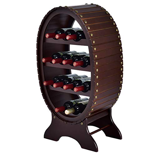 (Giantex 13 Bottles 4 Tier Vintage Wine Rack Wood Storage Shelf Holder Liquor Home Decor)