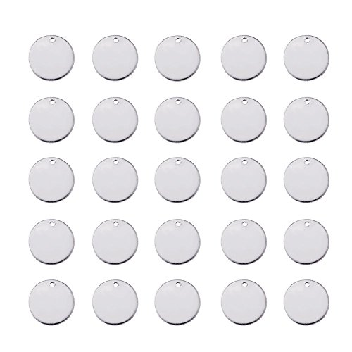 - Beadthoven 100pcs 9/16''Inch 304 Stainless Steel Blank Stamping Tag Pendants for Bracelet Earring Pendant Flat Round Charms 15x1mm