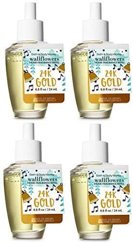 Bath and Body Works 24K Gold Wallflowers Fragrances Refill. 0.8 Oz. 4 Set.