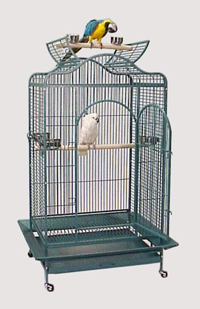 Maui Mansion Convertible Top Bird Cage - 36'' X 30'' X 66'' - Green Vein by BirdCages4Less