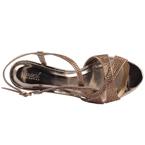 Unze Mujeres 'Steve' Glittery Strappy Bajo Medio Alto Talón Partido Prom Reunión Brunch Carnaval Wedding Evening Sandalias Talones Zapatos Uk Tamaño 3-8 Gold