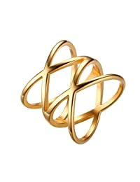 UM Jewelry High Polished Mens Womens Stainless Steel Cross Biker Ring Gold