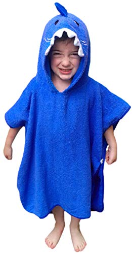 Hudz Kidz Hooded Towel for Kids & Toddlers, Ideal at Bath, Beach, Pool (Blue Shark) ()