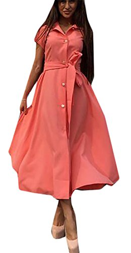 Cruiize Dress Button Slit A Line Sleeve Front Belted Short Womens Orange Long RBrRCqwpxf