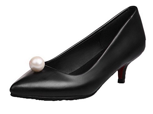 PU VogueZone009 On Pull Women's Black Court Shoes aq7wzqTx