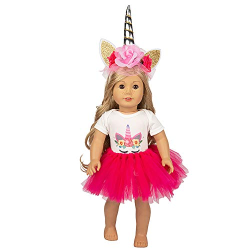 Xplanet Unicorn Clothes, America Doll Clothes and Accessories, Unicorn Headband, Shirt, Tutu Dress for 18 Inch Girl Doll Outfits|Great Gift for Kids]()
