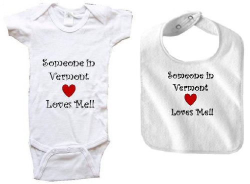 Champlain Series (SOMEONE IN VERMONT LOVES ME - VERMONT BABY - 2 Piece Baby-Set - State-series - White Baby One Piece Bodysuit / Baby T-shirt and White Bib - size Newborn (0-6M))