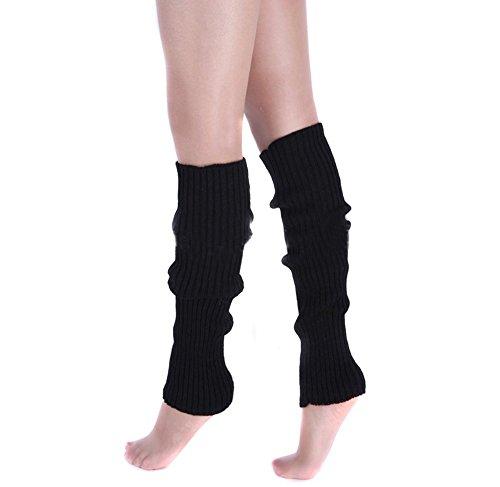 Ewandastore Candy Color Women 80s Winter Leg Warmers Knitted Wool Crochet Long Boot Socks Black (Womens 80s)