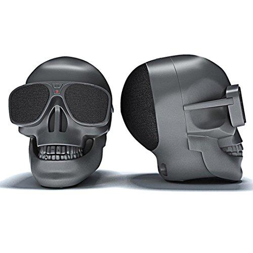 Creazy Plastic Skull Metallic Wireless Shape Bluetooth Speaker Subwoofer Mobile Speaker (Black)
