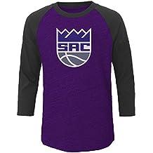 NBA Sacramento Kings Men's Big & Tall Team 3/4 Sleeve Slub Jersey Crew Tee, 3X, Purple Heather/Chafe