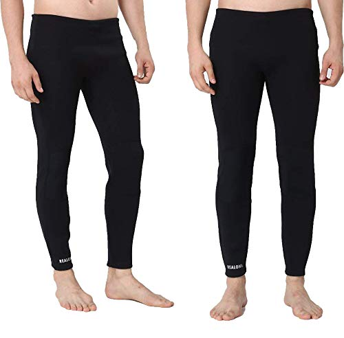 Realon Surfing Wetsuit Pant 1.5mm Men Womens Compression Leggings Swimming Tights,Stretch Body, Keep Warm in Cold Water,Diving Snorkeling Scuba Surf Canoe Pants (Black 1.5mm, S) ()