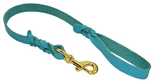 J&J Dog Supplies L234-TEA Leather Dog Leash, Teal