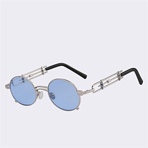 Protectora azul Metal Vintage Negro Viajar Gafas moda400 Playa UV Sombras Astilla SYXSN espejo con Exteriores de Redondo Anteojos Caminante UvRwxqS