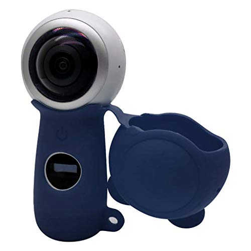 Soft Silicone Case Cover for Samsung Gear 360 2th Action Camera,Removeable Protective Skin Shell,Non-Slip,Scratch-Proof,Dust-Proof (Dark Blue)
