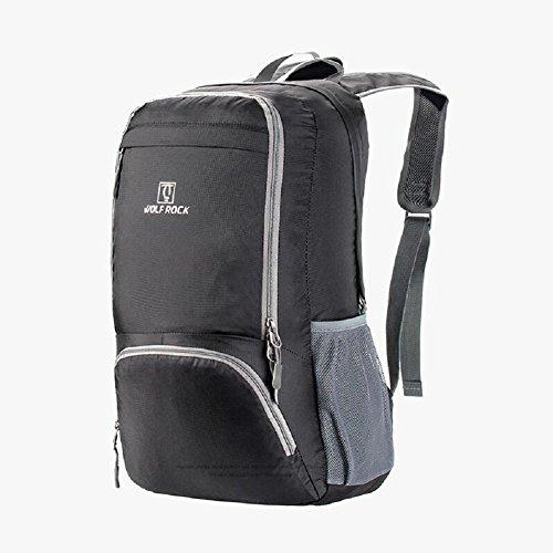 ZC&J Mochila plegable ligera universal para hombre y mujer, turismo al aire libre, montañismo, mochila de camping, impermeable, anti-rasguño, mochila portátil,green,30L Black